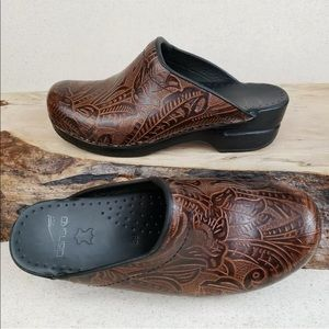 Dansko Sonja Floral Brown Tooled Leather Clogs